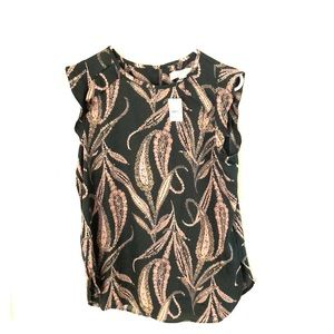 Loft extra small Paisley ruffled Sleeve top